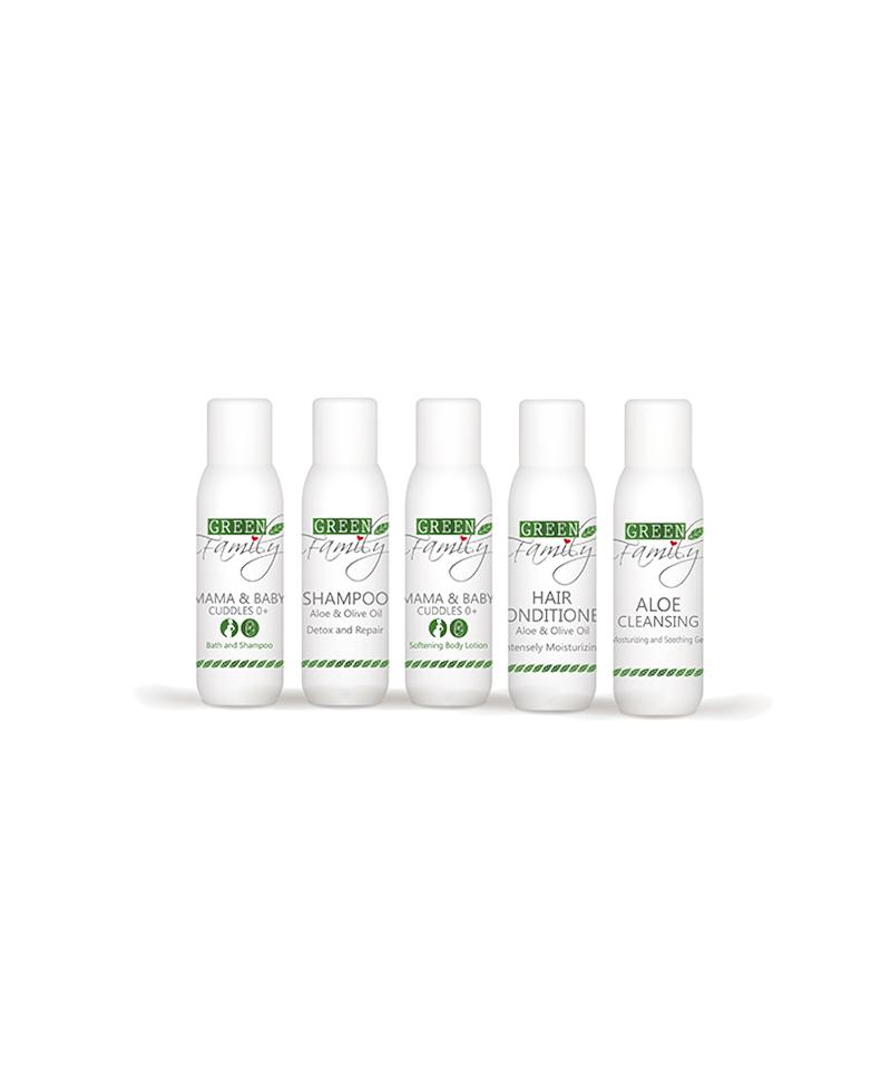 travel kit prodotti viso capelli green family