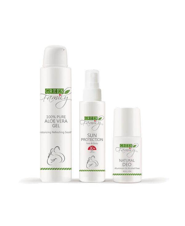 kit solari abbronzatura perfetta protezione solare gel d'aloe vera e natural deo green family